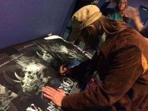 Signing for fans at the 15th anniversary showing of IN THE WOODS