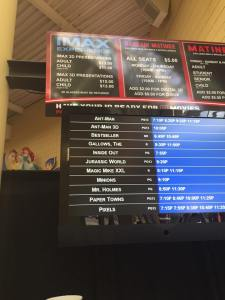 Boards at the Celebration Cinema giving local showtimes